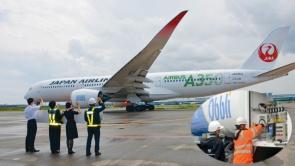 2021年6月17日に東京・羽田空港からSAFを搭載して飛び立った日本航空515便。使用燃料のうち木質バイオマス由来のSAFの混合割合は25%、微細藻類由来のSAFの混合割合は11%