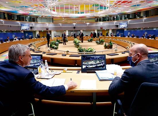 "EU加盟国首脳が集まる20年12月の欧州理事会(上)は30年目標の強化を決めた<br><span class=""fontSizeS"">(写真:EuropeanUnion)</span>"