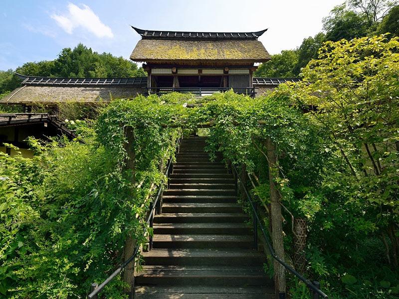 かやぶきの温泉旅館で日本文化を継承