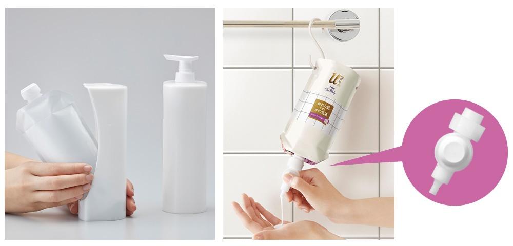 ■ 花王がプラスチック使用量を削減するため開発したフィルム容器 ボトルライクパウチ(BLP)容器と専用ホルダー「スマートホルダー」(左)。ボトル容器に詰め替えるのに比べ、詰め替え時間が短縮し、中身の残量を少なくすることができた。BLPはさらに進化した。新商品「ビオレu ザ ボディ ぬれた肌に使うボディ乳液」(右)は、専用ノズル「らくらくスイッチ」を容器に装着し、付属のS字フックで吊り下げて使う
