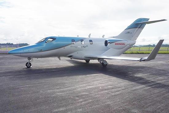 """民間の航空機として初めてユーグレナのバイオ燃料を使って飛行した小型ビジネスジェット機「ホンダジェット」<br><span class=""""fontSizeS"""">(写真:ユーグレナ)</span>"""