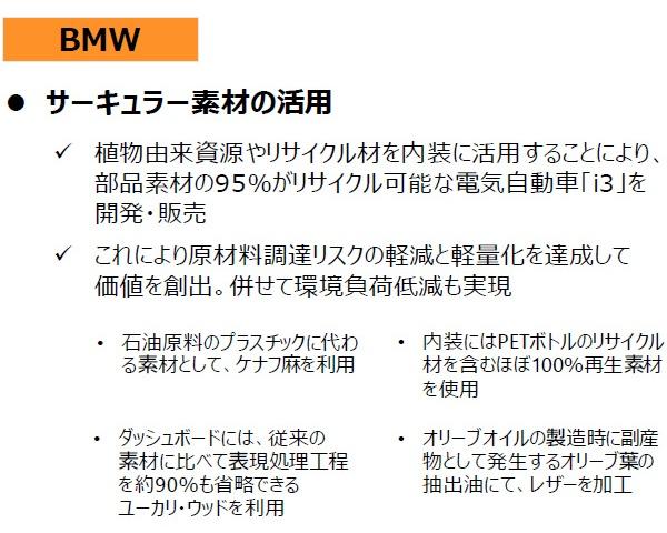 ■BMWは「サーキュラー素材」を積極的に活用