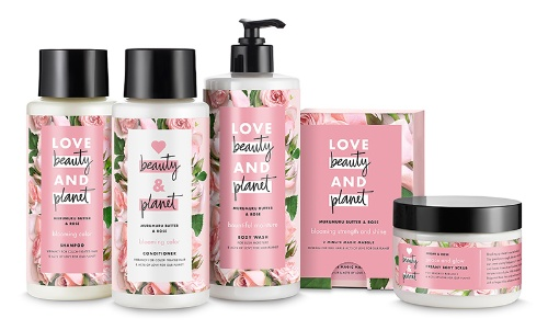 Unilever's haircare products, including shampoo and conditioner, with containers of 100% recyclable material.