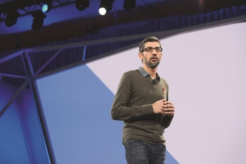 Google CEO Sundar Pichai. After massive protest both internally and publicly as a result of the firm's participation in an AI development project for the US DoD, Google announced guiding principles for AI utilization.