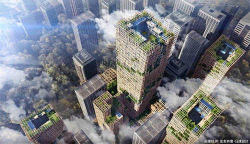 The W350 Plan, a wooden high-rise building design announced in 2018 (image: Sumitomo Forestry & Nikken Sekkei)