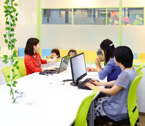 Mama Square, with a childcare facility adjoining the office, allows mothers to interact with their children while working