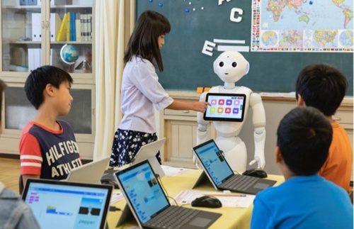 The ICT environment is being improved, with initiatives such as programming classes becoming compulsory even in educational settings (SoftBank Robotics)