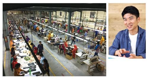 """生涯を懸けて社会事業を広げると決意したボーダレス・ジャパンの田口一成社長(右)。バングラデシュでは革製品の販売で雇用を生んでいる(左)<br><span class=""""fontSizeS"""">(写真:北山 宏一(右)、ボーダレス・ジャパン(左))</span>"""
