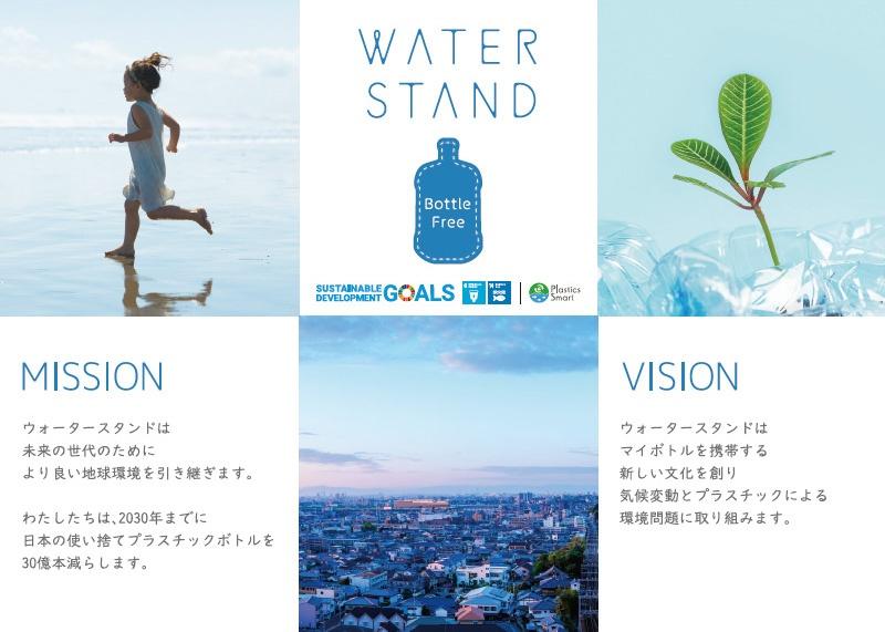 ■ プラスチックゴミ削減に向けた取り組み ウォータースタンドのミッションとビジョンを伝えるメッセージ