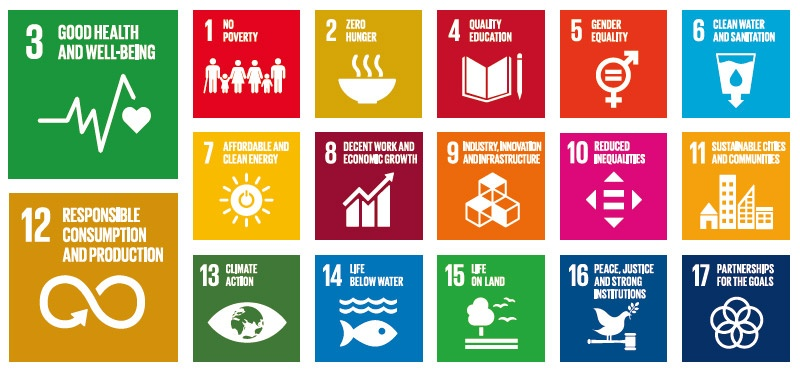 SDGsの全17個の目標に取り組んでいるが、特に目標3「健康と福祉」と目標12「持続可能な生産と消費」に注力している