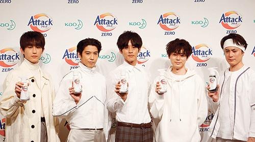 「アタック ZERO(ゼロ)」のテレビCMには人気俳優5人を起用した。汚れをしっかり落とし、かつ付きにくくするという洗剤の機能面の付加価値を生活者に広くアピールする