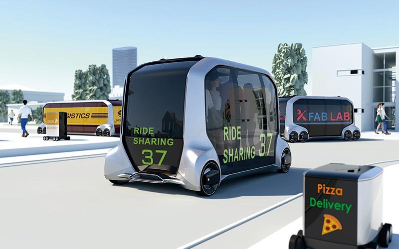 トヨタが米国の家電見本市「CES 2018」で披露した次世代EVのコンセプト車「e-Pallete Concept」