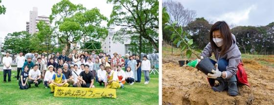 元松さんは、若手起業家による関門地域(関門海峡を挟んだ地域)のレモンをブランド化しようという活動に、ボランティアとして参画した。右写真は農園に自らレモンの苗木を植えているシーン。左写真は8月に開催され、元松さんも参加したという「海峡レモン祭り」の様子(写真提供:EY Japanおよび元松氏)