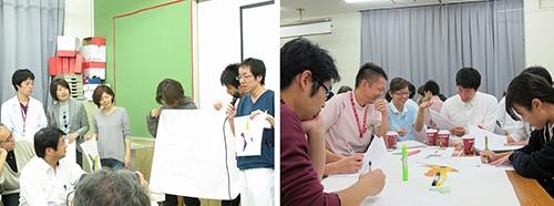 「絵本の扉を開くワークショップ」(2014年)の様子。職員、患者、地域住民が参加し、どんなアート作品にしたいかを話し合った(写真提供:耳原総合病院)