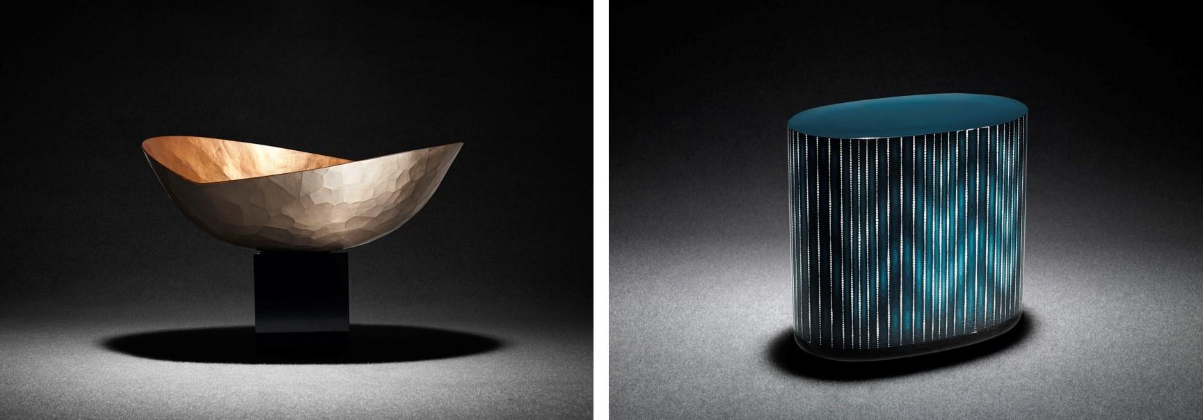 (左)鎚起銅器「魂銅器(こどうき)」(玉川堂作) (右) 卵殻彫漆箱「白糸(しらいと)」(金城一国斎作)