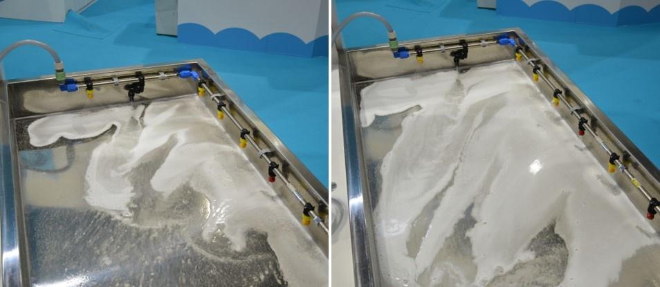 図9 工場の床を定期的に泡で洗浄して清潔な状態を保つ