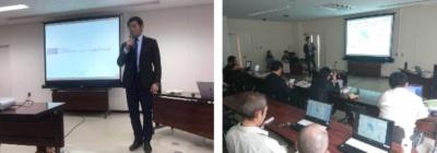 市長(左写真)・副市長、幹部職員を前にFM・PPPの取り組みを発表する公共施設マネジメントプロジェクト発表会の様子(写真:常総市)