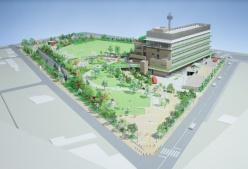 「三鷹中央防災公園・元気創造プラザ」は、三鷹市役所に隣接する約2.0haに、平常時は公園、災害時には一時避難場所となる防災公園を整備。敷地内には地下2階・地上5階建ての「元気創造プラザ」を新設し、5つの公共施設を集約させる。右下は公園の地下に設置するメインアリーナのイメージ図(資料:三鷹市)