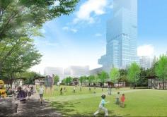 エントランスエリア(左)と芝生広場(右)の完成予想図(資料:近鉄不動産)