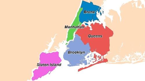 NY市はブロンクス、マンハッタン、ブルックリン、クィーンズ、スタテンアイランドという5行政区から成る。「ビッグアップル」の愛称で親しまれ、市内では170近くの言語が話され、人口の密度の高さと多様性が著しい(資料:島田智里)