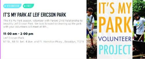 """PFPが協賛する支援団体""""Parent Child Relationship""""主催による「It's May Park Volunteer」イベントの案内例(Partnerships for Parksのウェブサイトより)"""