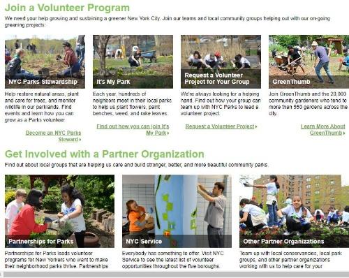NY市公園局とパートナー団体のボランティア活動の案内は定期的に更新され、検索や登録ができる(NY市公園局のウェブサイトより)