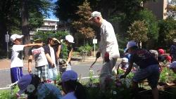 市の花「コスモス」プロジェクトでは、公園ボランティアと児童が協力してコスモスを植える(写真:高井 譲)
