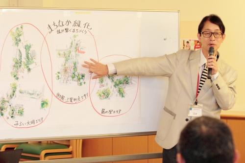参加者の思いを絵にし、それぞれの思いをつなぎ合わせてガーデンデザイナーの正木覚氏が街全体の絵を完成させる(写真:チームネット)