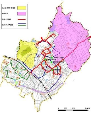 (図1)豊明市の2つの交通不便地域(色付きのエリア)(資料提供:アイシン精機)