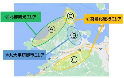 (図2)糸島半島で交通課題を抱える3つのエリア(資料提供:SEEDホールディングス)