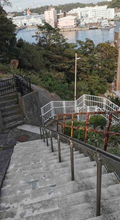 (写真1)横須賀市の特徴的な住宅密集地「谷戸」は、自動車が通れない坂道や急な階段も多く残っている(写真:元田光一)