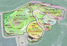 基本構想では、地形に合わせて公園を3つのゾーンに整理した(資料:氷見市)