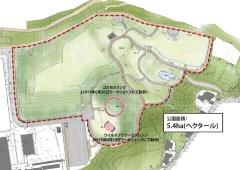 コスモスリングに種をまく参加者(左写真)と公園内の位置(右図)。図中の「ワイルドフラワーチャレンジ」部分には多年草のハーブを植える(写真・資料:氷見市)