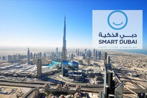 図1 Smart Dubaiのイメージ写真とロゴ。「スマートライフ」「スマートな経済」「スマートなガバナンス」「スマートなモビリティ」「スマートな環境」「スマートな人々」という6つの柱からなる(出所:ドバイ政府)