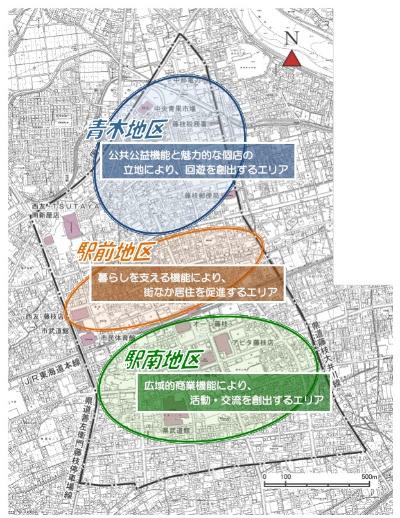 ■中心市街地の範囲と3つのエリア