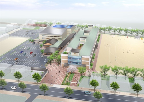 高浜小学校外観パース。右の建物が地域交流施設を併設する学校校舎で2019年4月にオープンする。左の駐車場の奥にある建物が公民館のホール機能を兼ねたメインアリーナやサブアリーナなどで2020年9月にオープンする予定(資料:高浜市)