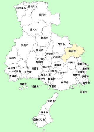 篠山市の位置。2004年に隣接して丹波市が誕生したことで「丹波篠山」という名称を強く意識するようになった(農林水産省の資料を一部加工)