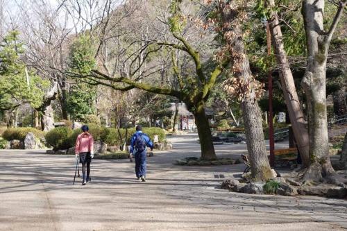 岐阜公園内のクアオルト健康ウオーキングのコース(写真:日経BP 総合研究所)