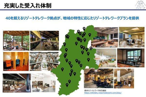 """信州リゾートテレワークの拠点は、長野県内に広く点在(資料提供:長野県)。詳しくは信州リゾートテレワークのサイトをご参照いただきたい<a href=""""https://shinshu-resorttelework.com/"""" target=""""_blank"""">https://shinshu-resorttelework.com/</a>"""