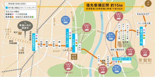 芳賀・宇都宮LRTの整備区画(資料:宇都宮市)