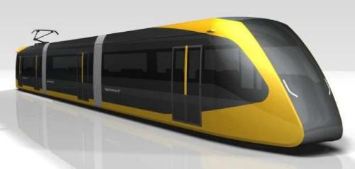 芳賀・宇都宮LRTの車両外観デザイン。「雷の光」をイメージした車両外観デザイン。アンケートの結果を踏まえ、7月10日に公表(資料:宇都宮市)