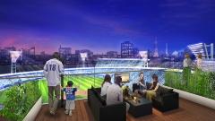 """横浜スタジアムは2020年の完成に向けて増築・改修工事を進めている(<a href=""""/atclppp/PPP/report/120100161/"""" target=""""_blank"""">関連記事</a>)。左右両翼の観客席を増やすほか、屋上テラス席、個室観覧席、2階回遊デッキを新設するなど""""場""""としての魅力アップを目指す。左はリニューアル後の全体イメージ。右は屋上テラス席のイメージだ(資料:横浜DeNAベイスターズ)"""