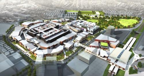 「南町田グランベリーパーク」の全体俯瞰(ふかん)イメージ。商業施設「グランベリーパーク」の奥に鶴間公園が見える(資料:町田市、東京急行電鉄)