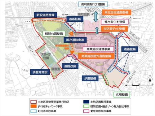 南町田グランベリーパークの概要図。南町田駅の南側に位置する。商業施設と鶴間公園を一体に整備するため既存道路を廃止する。また、南町田駅には南北自由通路を整備して北口から商業施設へのアクセスを改善する(資料:町田市、東京急行電鉄)