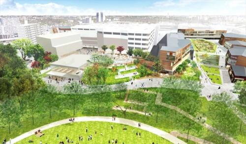 商業施設と公園をつなぐエリアの整備イメージ。高低差を利用して地中に埋まったような建物にスヌーピーミュージアムや図書館などが入る(資料:町田市、東京急行電鉄)