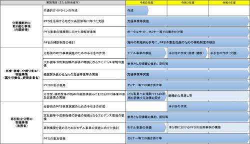 PFSアクションプラン工程表(資料:内閣府)
