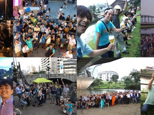 2019年までに各地で開催された「水辺で乾杯」の様子。各地の水辺に人々が集まった(写真:ミズベリング・プロジェクト事務局)