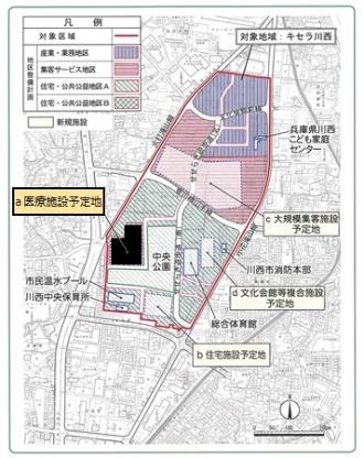 キセラ川西エリアと病院建設予定地(図中の「医療施設予定地」)。また、図中の「文化会館等複合施設」は、後述の「キセラ川西プラザ」のこと(資料:川西市)