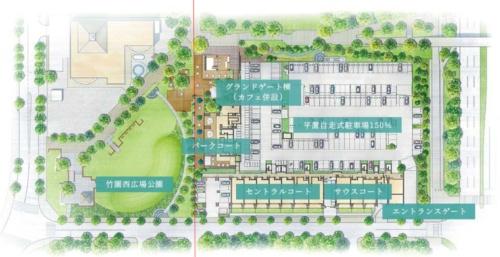 公園とマンションの平面図。赤い線が両者の境界(資料:フージャースコーポレーションの資料を一部加工)