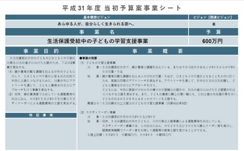 渋谷区の2019年度当初予算案より。渋谷区では、生活保護世帯の子どもは1学年に7~8人ほどだという